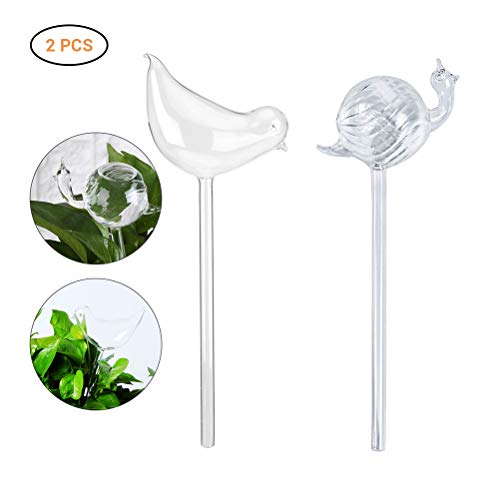 Glass Garden Stake (Plant Watering Bulbs Glass Self-Watering Stakes Water Globe for Garden Patio Flower Pot Hanging Planters)