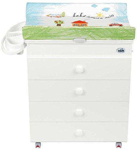 CAM Il mondo del bambino C915006/222 Fasciatoio Asia Bianca, Verde