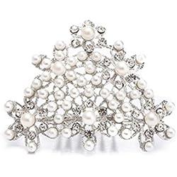 Tiara Perlas Peine Pieza de Pelo Disfraz
