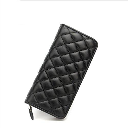 Heart&M Mode Volltonfarbe kurze Schaffell Rhombus Geldbörse Clutch-Tasche Black