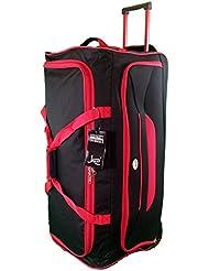 Très grande taille Sac de voyage 105L de Voyage valises souples. Noir avec garniture rouge. Bagagerie