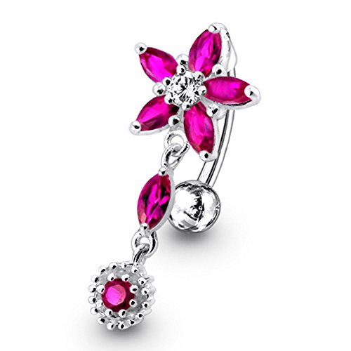 Red Crystal Stein trendigen Flower Design Sterling Silber Bauch Bars Piercing