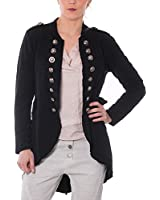 Damen Blazer Lang Military Sweatblazer im Vintage Design Jacket Stonewasch Look