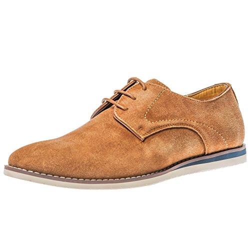 Yolkomo Herren Wildleder Oxford Sneaker Classic Casual Logging Schuhe Für Engere Kleidung Braun 42 (Kalb Leder Braun)