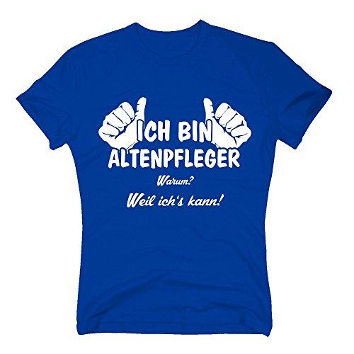 Shirtdepartment T-Shirt Herren - Ich Bin Altenpfleger, Weil Ich's Kann - von Shirt Department, Royalblau-Weiss, XXXL (Ich Pflege, Weil Sie)
