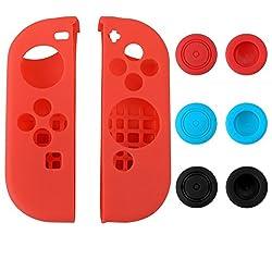 eXtremeRate® Custodia Protettiva in Silicone Custodie Protettive per Gel per Nintendo Switch Joy-Con Protector Protector Kit Protezione Rosso