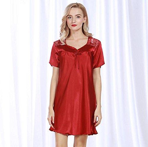 LJ&L Imitation Seide Pyjama Sommer kurze Ärmel in der langen losen Licht schlafen bequeme Bad Freizeit Schlaf Rock,pale pinkish gray,one size Red wine