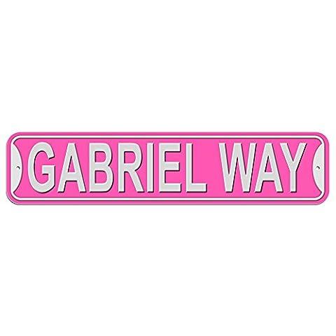 Gabriel Way Sign - Plastic Wall Door Street Road Male Name - Pink