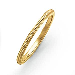 14ct Gold 1.5mm Milgrain Band Ring - Size K 1/2