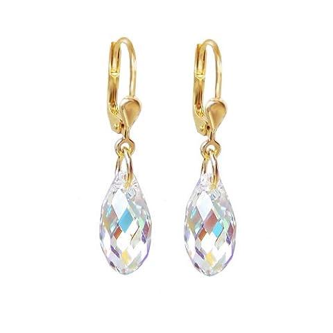 Schoener-SD, Boucles d'oreilles plaqué or avec petits cristaux briolettes de