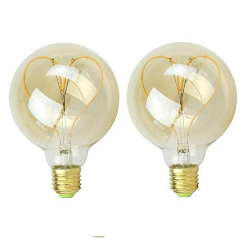 XXIONG Edison 4W LED Dimmbar Glühfaden Globe Schraube Herz Design E27 G95 Glühbirne Dekorative Bulb Home-Deco Birne Antike Leuchtmittel für Nostalgie und Retro Lampe Warmweiß Licht - 2 Stück, B
