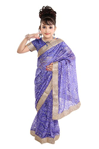 Pratima Girl's Fashionable Georgette Net Royal Blue Ready made Pre-stitched Saree