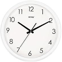 Hense Retro Vintage de estilo europeo sala de estar grande relojes de pared redondo decorativo concisa 15pulgadas Mute silencioso movimiento de cuarzo cocina decoración reloj de pared con barrido de segunda mano reloj de pared mesa de madera HW18