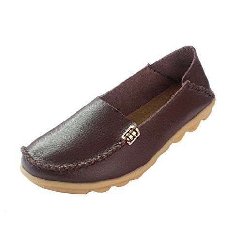 Fisca, mocassini da donna da barca, casual, in pelle zigrinata, marrone (coffee), 40
