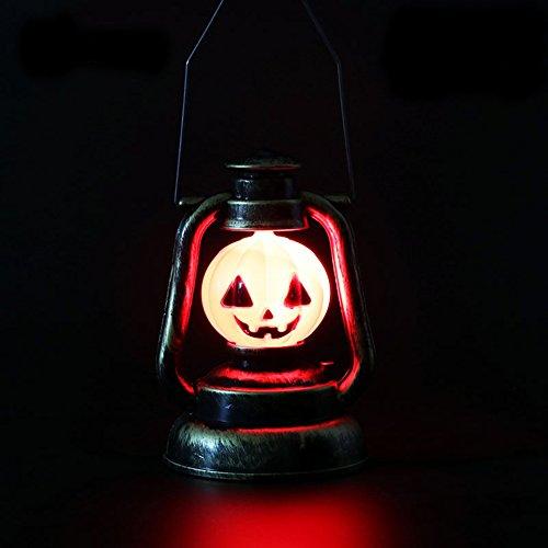 Halloween Requisiten, Morbuy Halloween Hexe Kopf Laterne mit Scary Geräuschen LED Kürbis Lampe Kids Retro Deko Tisch Aufhängen leuchtet Dunkeln Batteriebetrieb für Karneval Party Dekoration (Kürbiskopf)