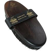 Cepillo del cuerpo del caballo con el pelo del caballo en negro y gris con correa de cuero con el logotipo Haas para Markgraf