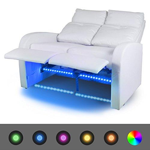 Festnight- Canapés à LED 2 Places en Cuir Artificiel 128 x 85 x 103 cm