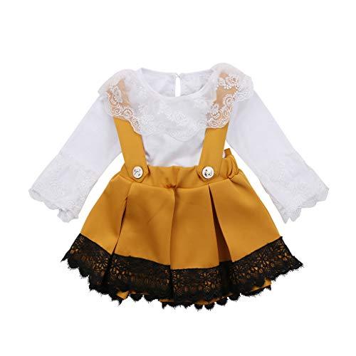MEIbax Neugeborenes Kind Baby Mädchen Spitze Strampler Langarm Tops Bogen Prinzessin Party Rock Kleid Outfit Set