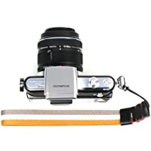 Foto & Tech Four Seasons Series grogrén de punto correa de muñeca ajustable gris/naranja de rayas para Sony NEX Leica Canon Nikon Panasonic Fujifilm Olympus Pentax Samsung cámaras compactas sin espejo