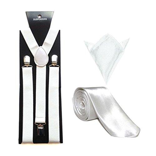 """Homme Bretelles/bretelles avec 3"""" Cravate & Hanky (7 Couleurs) Blanc - Blanc"""