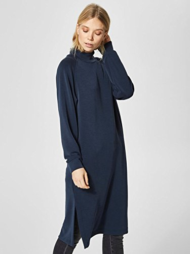 SELECTED FEMME Sftea Ls Highneck Sweat Dress, Vestito Donna Blu (Dark Sapphire Dark Sapphire)