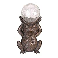 Garden Mile® Magic Garden Frog with Crystal Ball Solar Power Toad Pond Light | Hand Painted Poly Resin Tarnished Bronze Effect Garden Statue Ornament | Outdoor Garden Patio and Pond Lighting