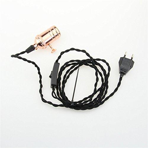 Plug-in Pendelleuchte-lampen (reachyea 3Meter von 2Core Twisted Elektrische Kabel, Plug In Anhänger Beleuchtung Kit Anhänger Light Fitting mit auf/aus-Schalter und E27Lampenfassung, 3 As shown, E27 60.00 wattsW 240.00 voltsV)