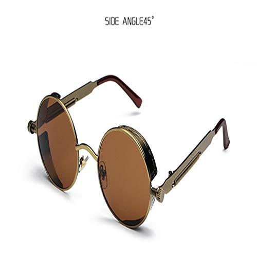 Sport-Sonnenbrillen, Vintage Sonnenbrillen, Round Steampunk Sunglasses Men Women Luxury Brand Eyewear Mirror Punk Sun Glasses Vintage Female Male Eyeglasses Punk C10