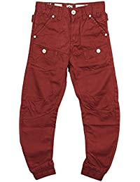 BOYS NEW ETO EB259 DESIGNER CUFFED RED CHINO JEANS. SIZES 24-26 *BARGAIN PRICE*