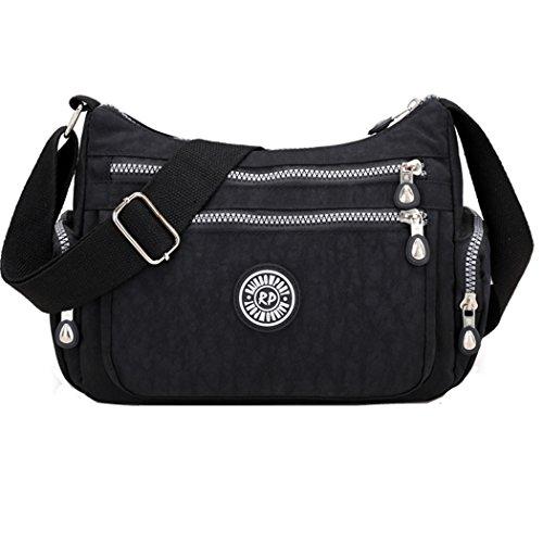Crossbody Handtaschen Casual Schultertaschen für Frauen Wasserdichte Nylon Messenger Bags (Schwarz) (Casual Tasche Damen)