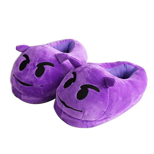 YUMOMO Emoji Peluche Pantoufles Hommes Et Femmes Chaussons Hiver Chaud House Slipper Shoes Taille 35 - 41 (Diable, pourpre)