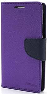 Samsung Galaxy Star Pro GT 7262 Mercury Flip Wallet Diary Card Case Cover (Purple+STYLUS) By Mobile Life