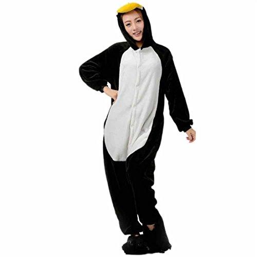 Damen Freizeitkleidung,FRIENDGG Damen Mädchen Flanell Pinguin Liebhaber Cartoon Tier Neuheit Weihnachten Pyjama Cosplay Lässig Mode Langarm Loungewear Homewear Nachtwäsche Nightclothes (M, Schwarz) (Flanell-capri-hosen Baumwolle)