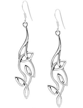 Silverly Frauen 925 Sterling Silber entwirrte Keltisch Knoten Twist Ohrringe baumeln