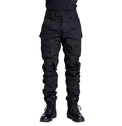 YuanDian Uomo Tattico Mimetica Pantaloni Militari All'aperto Multitasche Traspirante Impermeabile Esercito Camuffare Trekking Escursionismo Campeggio Cargo Lavoro Pantaloni Nero 34
