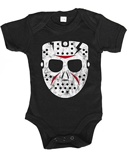 -- Hockey Mask -- Babybody Schwarz, Größe 6/12 Monate (Freitag Girl Kostüm)
