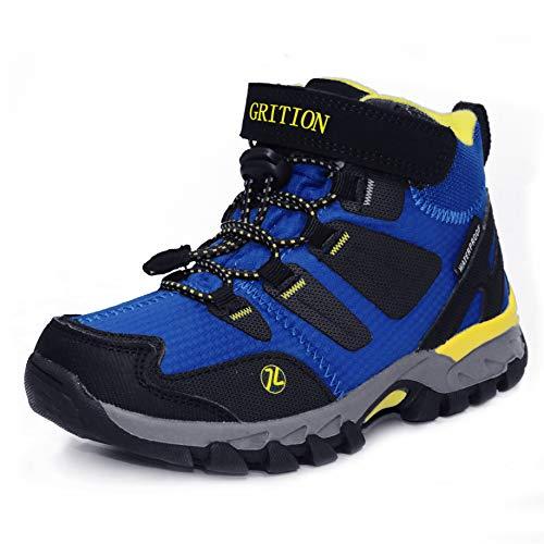 Kinder Wanderschuhe Trekking Stiefel Jungen Mädchen Lace Up Klettverschluss Walking Boots Schuhe wasserdichte rutschfeste Kletterschuhe EU 28-35 (35 EU / 23.33 cm, Königsblau)