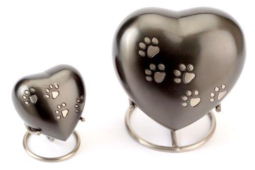 """Urns UK Pet Cremation Memorial Heart Urn Hertford, Pewter 5"""" 2"""