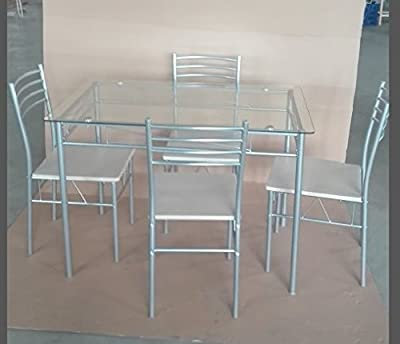 VECELO Kitchen Dining Table Set Dining Room Table and Chairs Furniture Set - low-cost UK light shop.