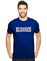 Blessed Gospel Men's Cotton Round Neck Tshirt In Black & Royal Blue