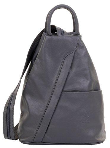 Primo Sacchi  Italienisch Weiches Nappaleder Drak Schultertasche Rucksack Rucksack mit grauem Griff. Inklusive Markenschutz-Aufbewahrungstasche