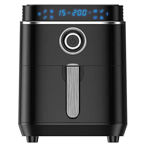 HeiPard 4,5L Heißluftfritteuse Friteuse Heissluft Fritteusen Air Fryer Aerofryer mit großem digitalem LED-Touchscreen, Vorheizen&Warmhalten, Shake-Modus 1500W