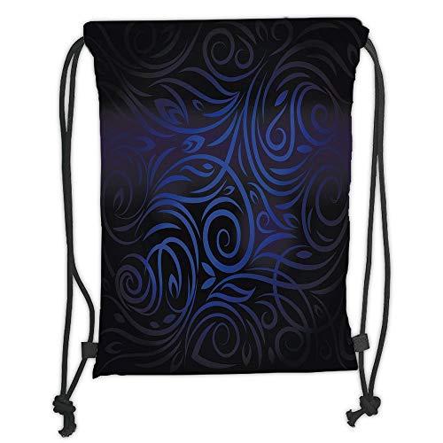 Juzijiang Drawstring Sack Backpacks Bags,Dark Blue,Antique Victorian Swirled Natural Floral Art Pattern Vignette Effect,Dark Blue Royal Blue Soft Satin Closure,,5 Liter Capacity,Adjustable. Blue Floral Natural