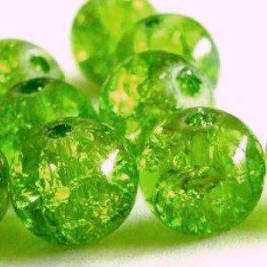 K2-accessories 400pièces 4mm Perles en Verre Craquelé–Vert citron–a1436-a
