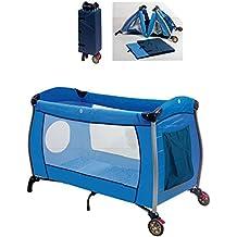 Cuna de viaje plegable Azul. Incluye: Cuna+Mosquitera+Somier+Bolsa transporte.
