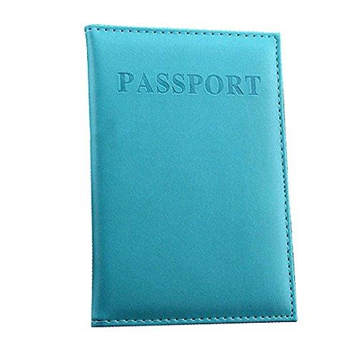 OHQ Porte-Passeport DéDié Nice Voyage Passeport Carte D'Identité Porte-Carte Titulaire Protecteur Organisateur Noir Marron Bleu Foncé Vert Chaud Rose Clair Orange Violet (Bleu clair)