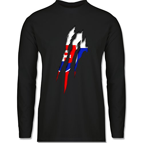 Shirtracer Länder - Slowakei Krallenspuren - Herren Langarmshirt Schwarz