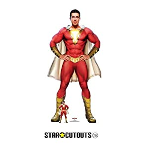 Star Cutouts SC1337 Shazam Cape Stylised (Zachary Levi) - Recorte de cartón (tamaño real, 190 cm de alto, 104 cm de ancho, multicolor