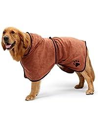 SODIAL Albornoz de perro de microfibra con correa de hombro ajustable de capucha Toalla absorbente de secado rapido toalla de gato de pelo largo y pijamas de humedad seca Codigo S