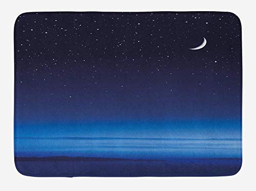 Night Bath Mat, Moon and Stars Over Santa Barbara Channel Infinity Foggy Pacific Ocean, Plush Bathroom Decor Mat with Non Slip Backing, 23.6 x 15.7 Inches, Dark Blue Sky Blue White - Pacific Black Duck